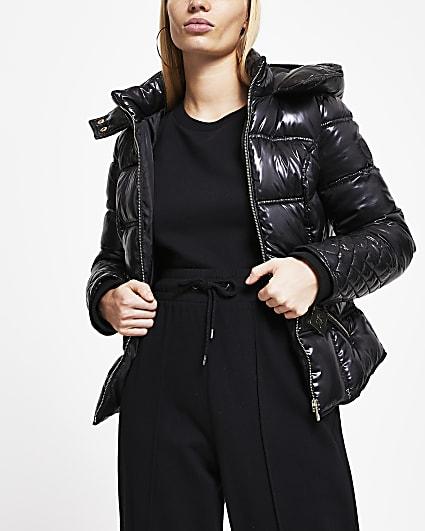 Black padded hood jacket
