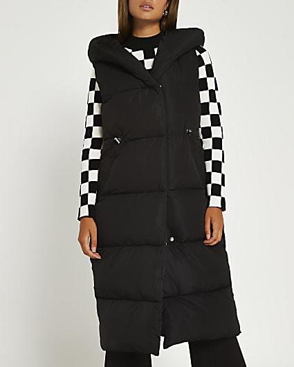 Black padded longline gilet