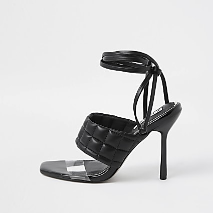 Black padded tie up sandal heels