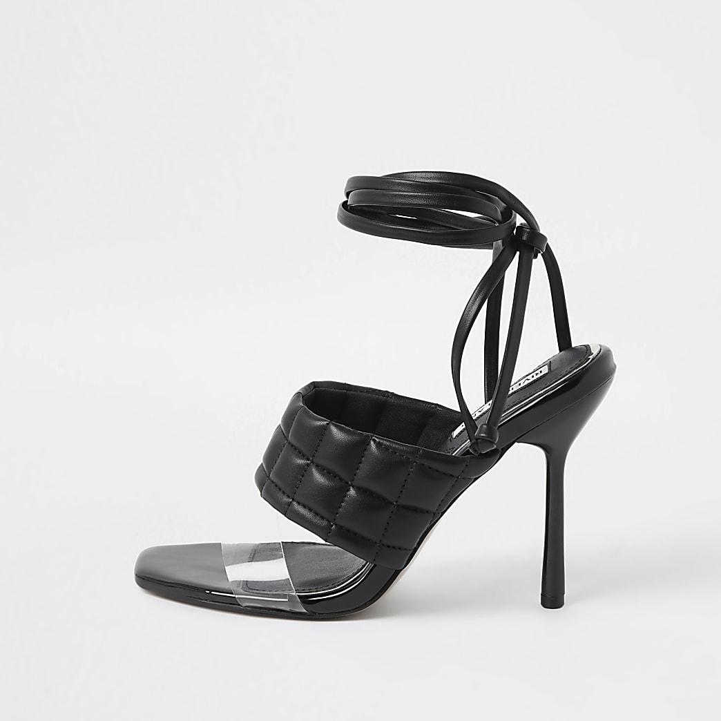 Black padded tie up sandal heels