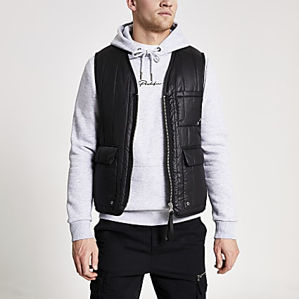 Black padded utility gilet jacket