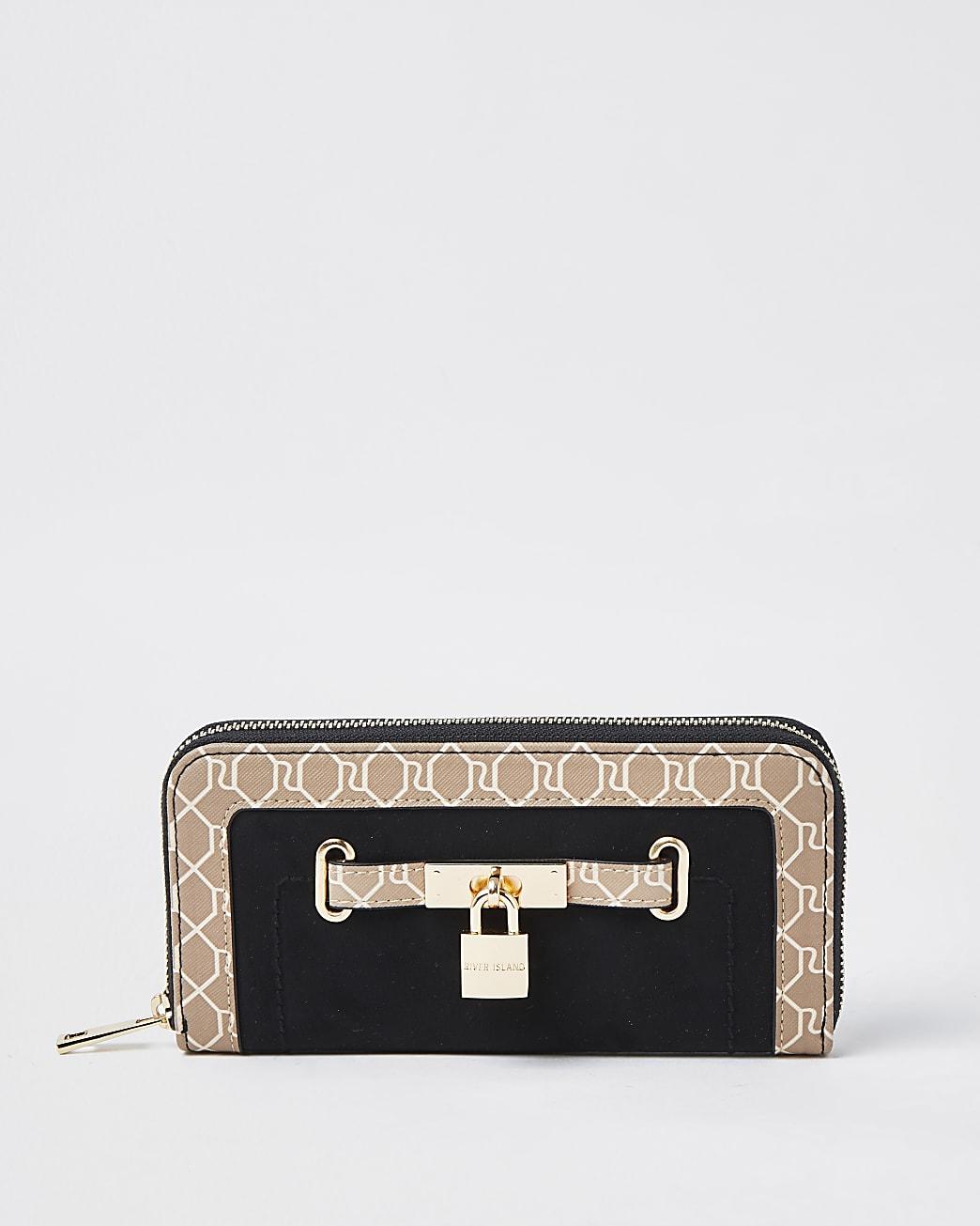 Black padlock monogram zip around purse