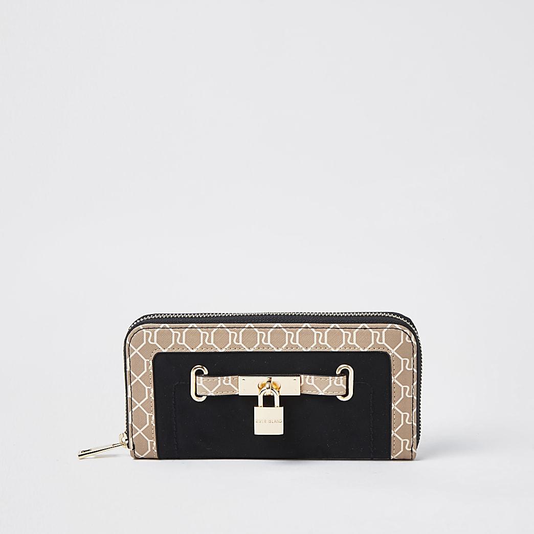 Black padlock monogram ziparound purse