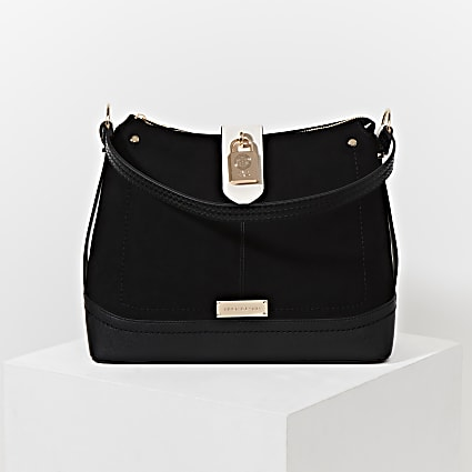 Black padlock slouch bag