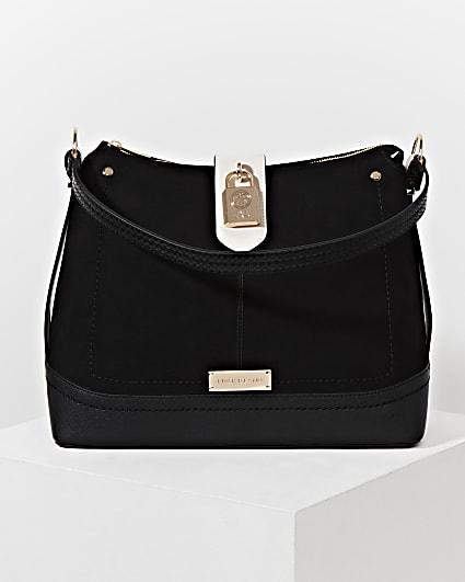 Black padlock slouch bag