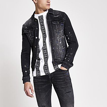 black paint splat muscle fit western jacket