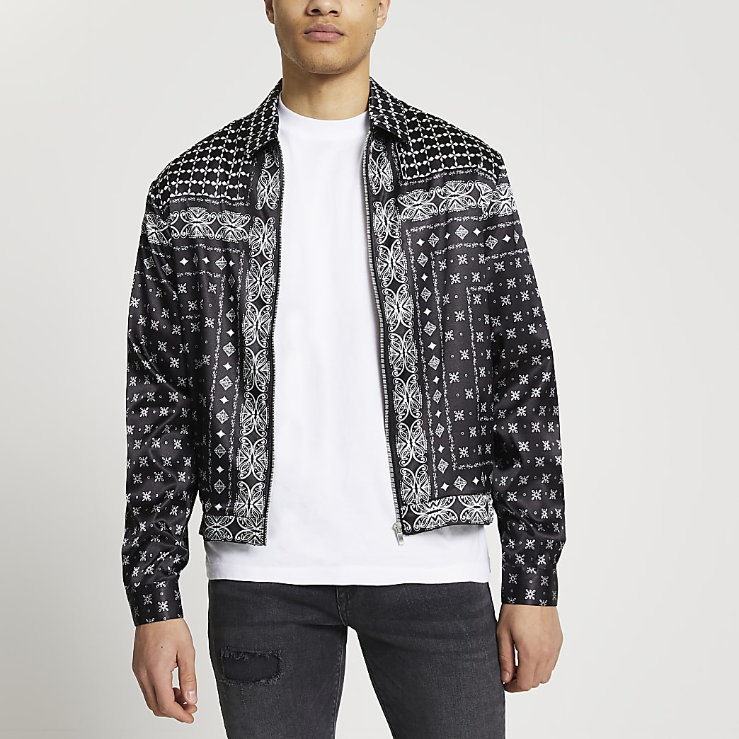 Black paisley print zip through shacket
