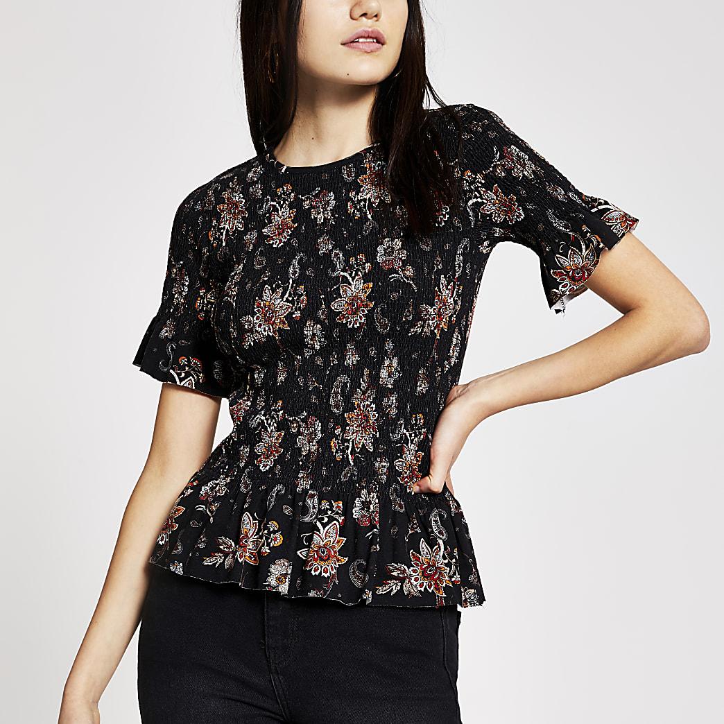 Gerafftes, kurzärmeliges T-Shirt in Schwarz mit Paisley-Muster