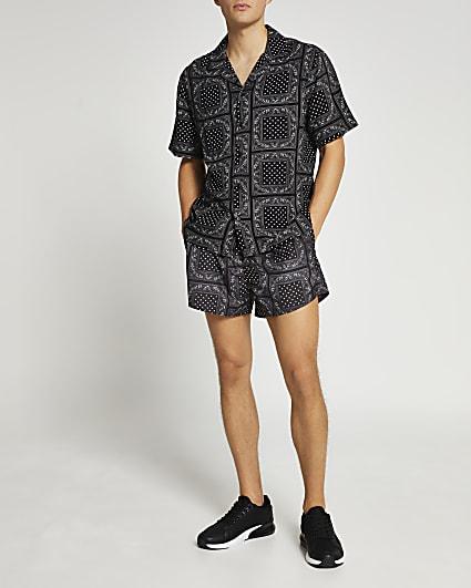Black paisley shirt and swim short set