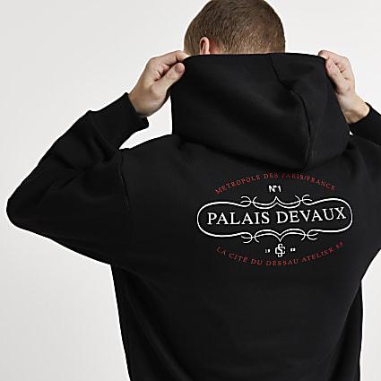 Black 'PALAIS DEVAUX' graphic hoodie