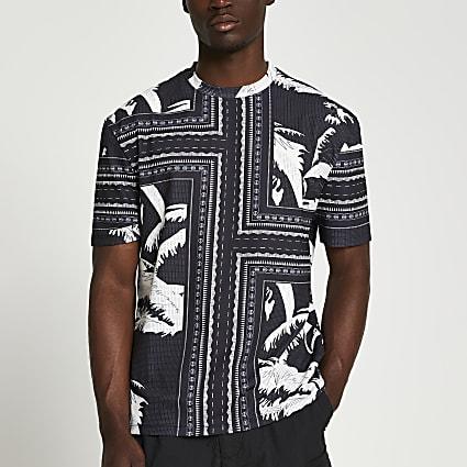 Black palm print t-shirt
