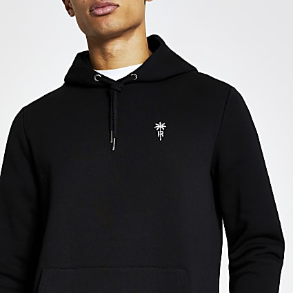 Black palm tree embroidered slim fit hoodie