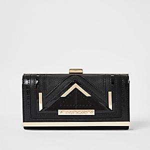 Black paneled cliptop purse