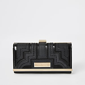 Black panelled cliptop purse