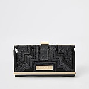 Zwarte portemonnee met druksluiting en panelen