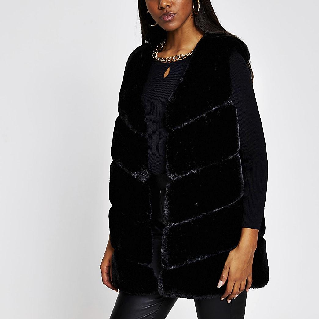 Black panelled faux fur gilet