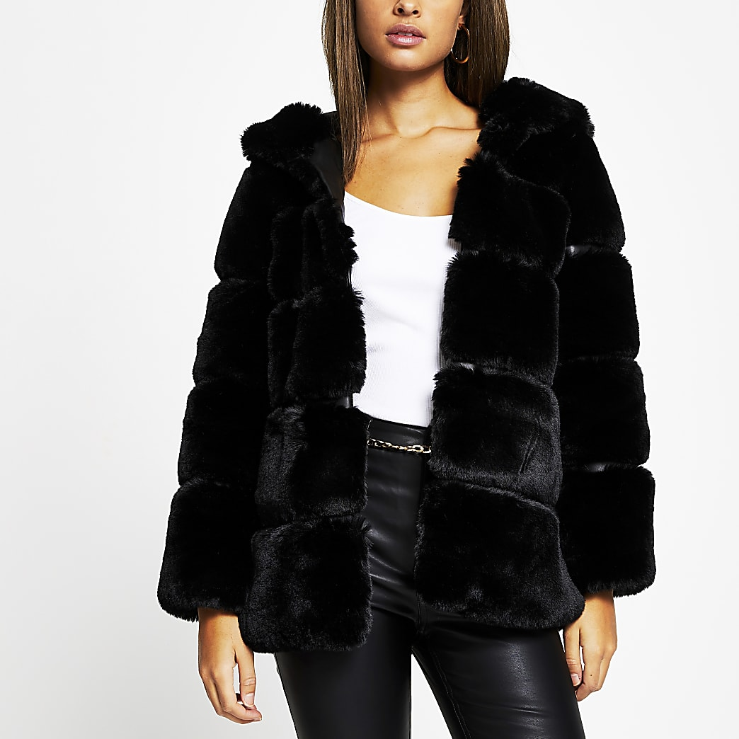 Black panelled hooded faux fur coat