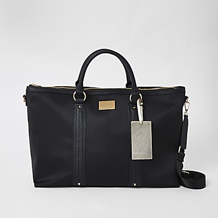 Black panelled weekend bag