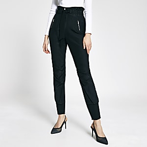 Pantalon de joggingà taille haute ceinturée noir