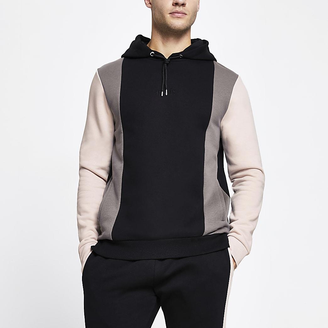 Black 'Paris' colour block slim fit hoodie