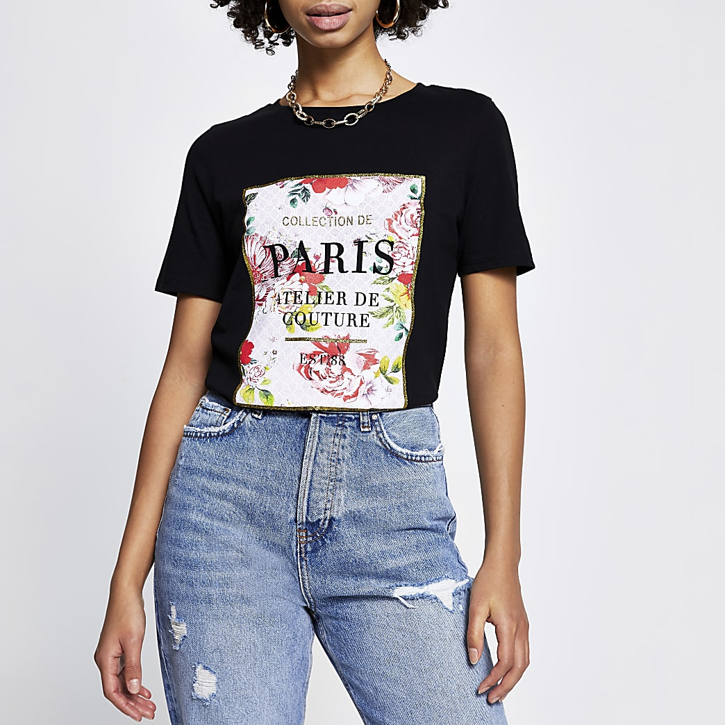Black 'Paris' floral short sleeve t-shirt