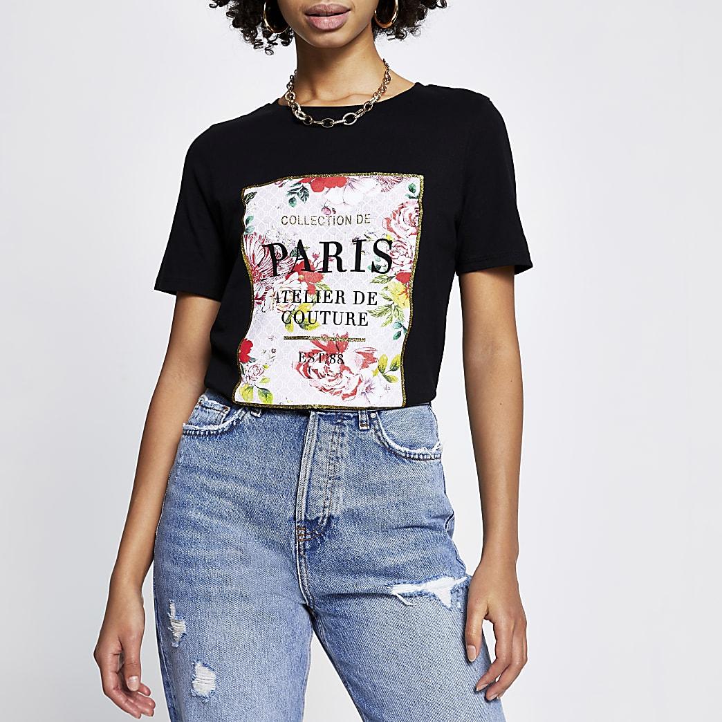 Black 'Paris' floral short sleeve t-shirt