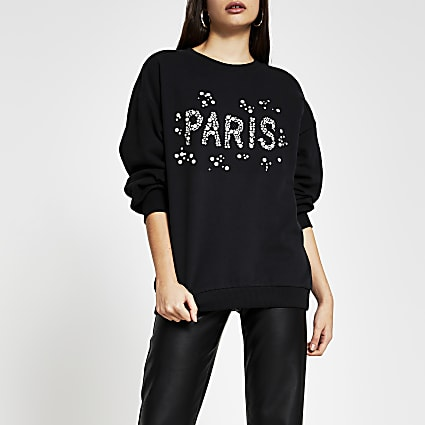 Black 'Paris' pearl embellished sweatshirt