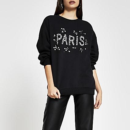 Black 'Paris' pearl embellished sweatshirt