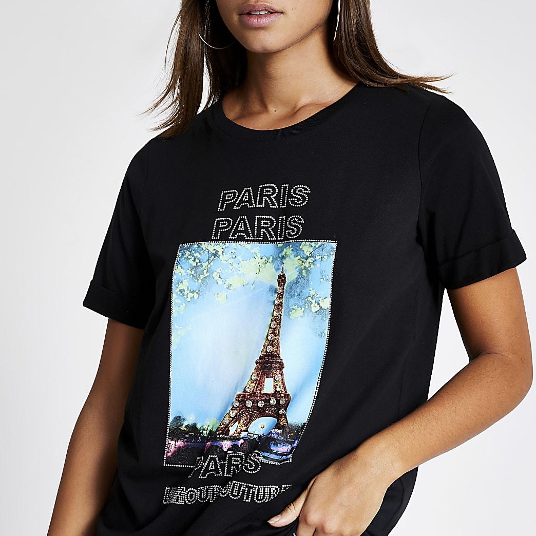 Black 'Paris' printed embellished T-shirt