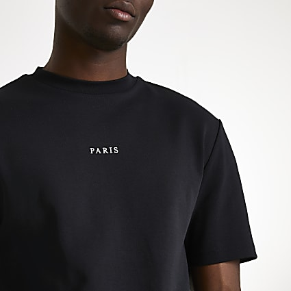 Black Paris short sleeve t-shirt