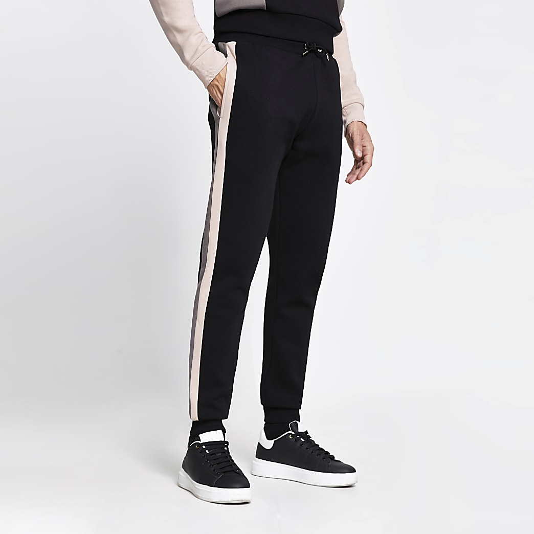 Black 'Paris' slim fit joggers