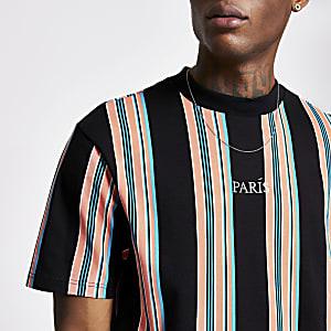 """Kurzärmeliges T-Shirt """"Paris"""" in Schwarz mit Streifenmuster"""