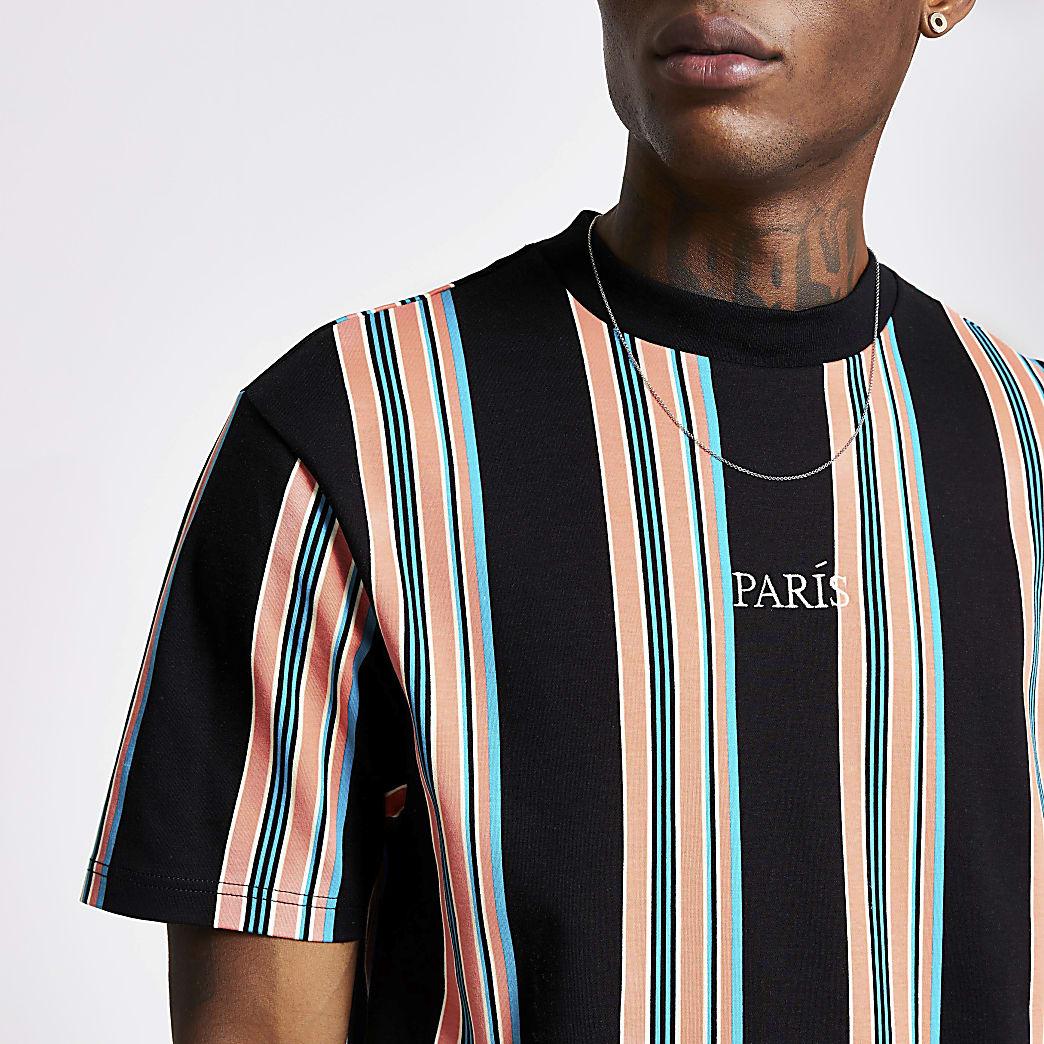 Zwart gestreept T-shirt met 'Paris'-print en korte mouwen