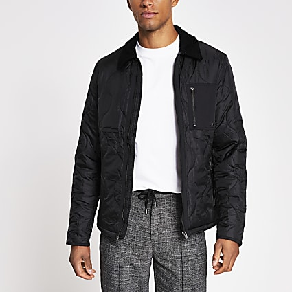 Black patch pocket quilted jacket