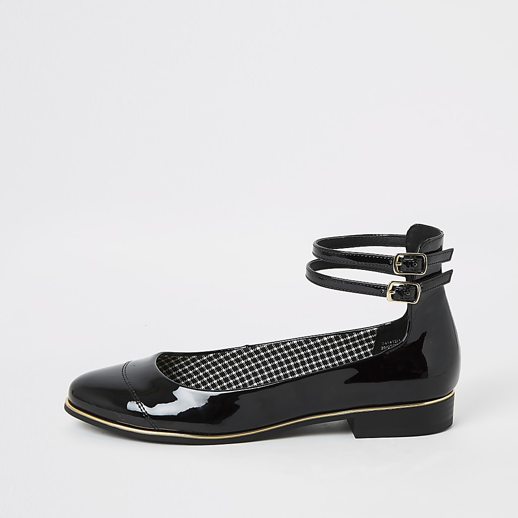 Black patent ankle strap ballet shoes