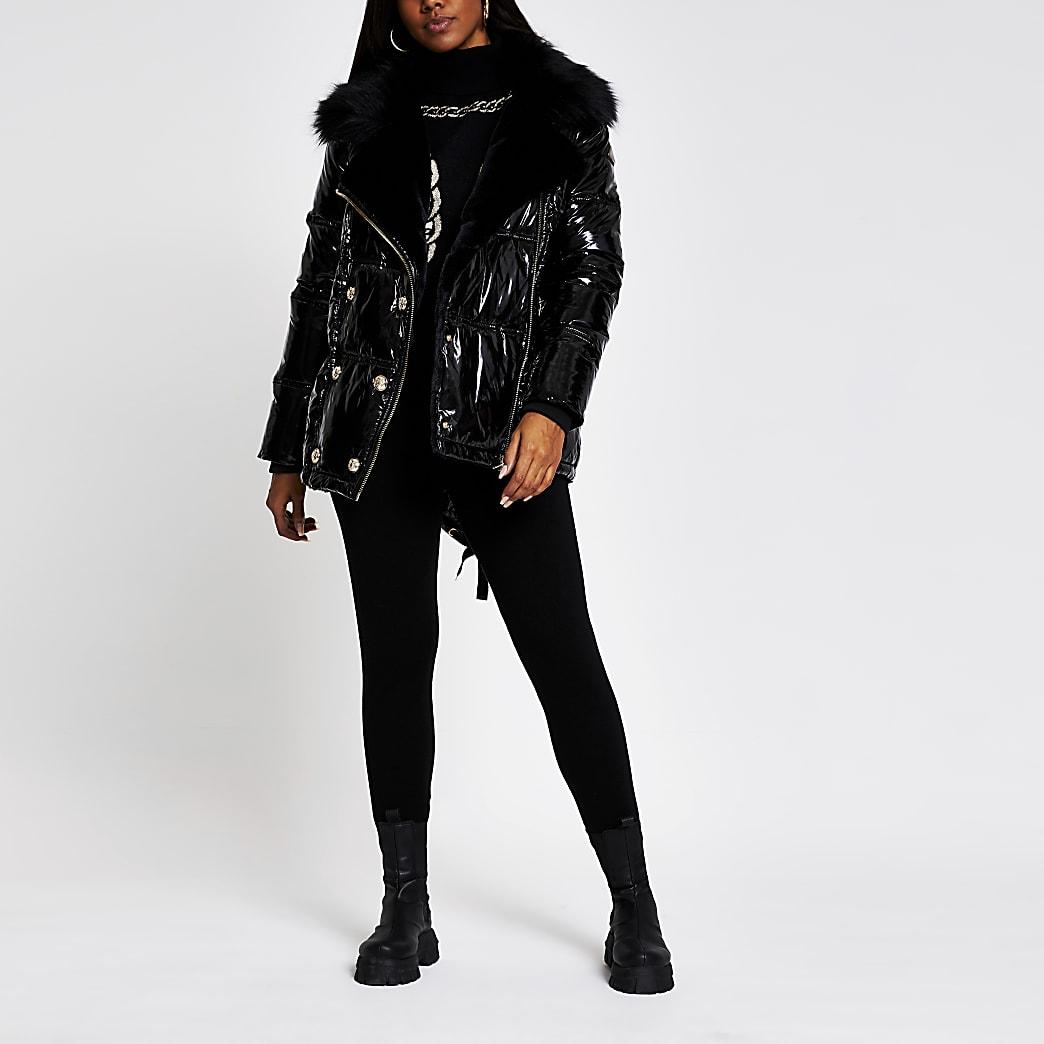 Black patent aviator faux fur puffer jacket