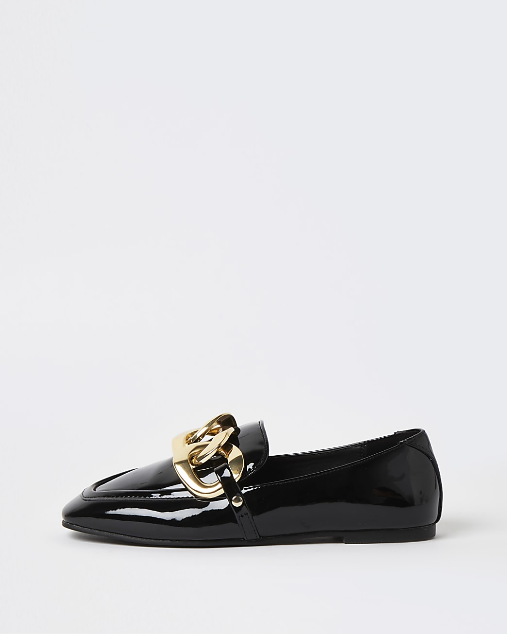 Black patent chain detail loafers