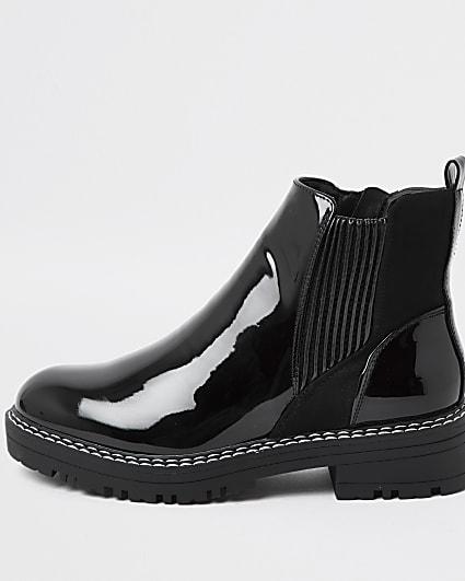 Black patent Chelsea boots