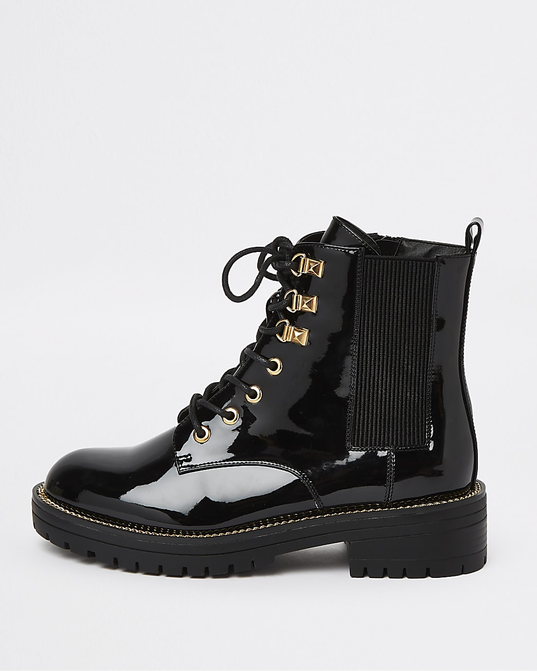 Black patent chunky biker boots