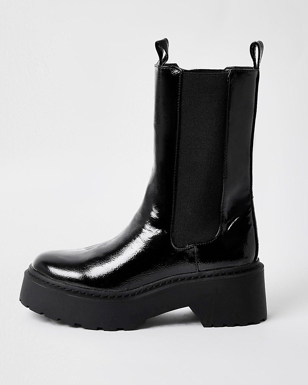 Black patent chunky boots