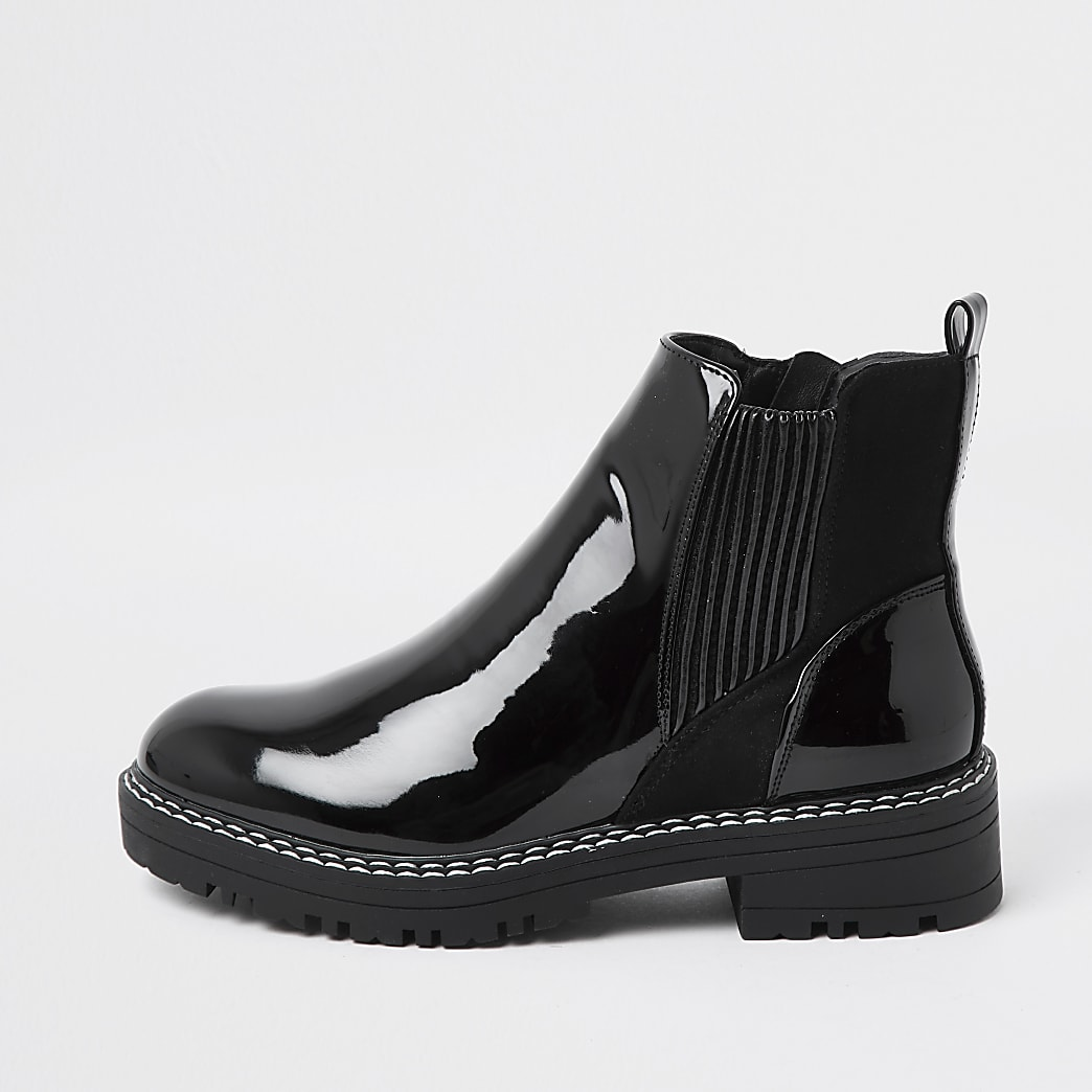 Black patent chunky chelsea flat ankle boot