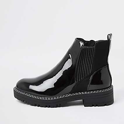 Black patent chunky chelsea flat ankle boots