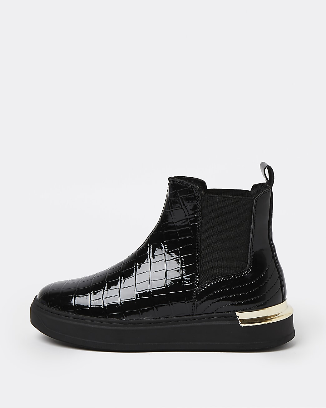Black patent croc embossed high top trainers