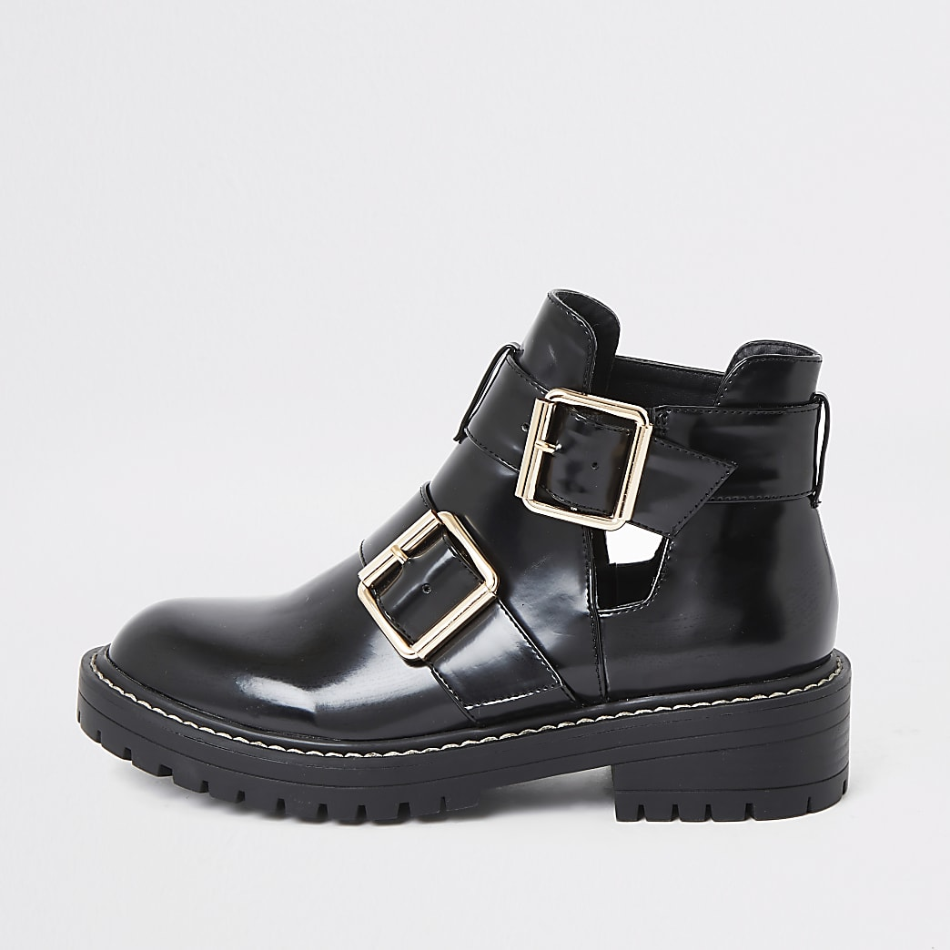 Black patent cut out side chunky boots