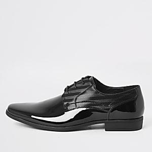 Zwarte lakleren derby-schoenen met reliëf