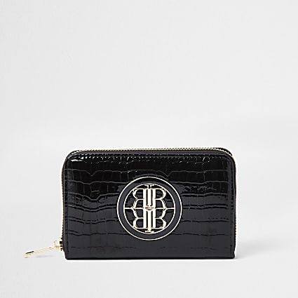 Black patent embossed mini ziparound purse