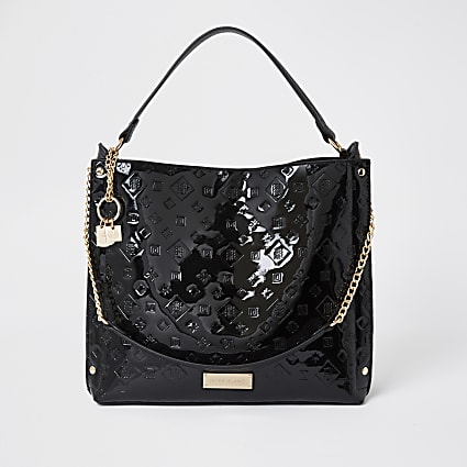 Black patent embossed slouch handbag
