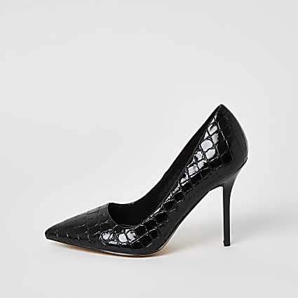 Black patent embossed wide fit court shoes