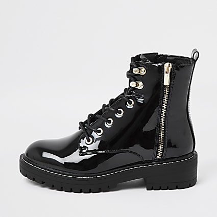 Black patent flat lace up chunky ankle boots