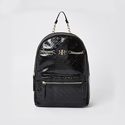 Black patent monogram backpack